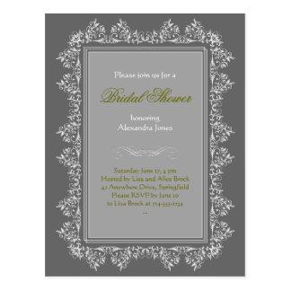 Invitación nupcial afiligranada elegante 8 del postal
