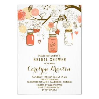 Invitación nupcial anaranjada de la ducha de los