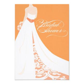 Invitación nupcial anaranjada elegante de la ducha