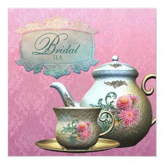 Invitación nupcial azul de la ducha del té del