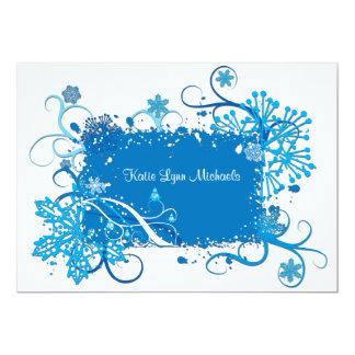 Invitación nupcial azul helada de la ducha