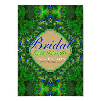 Invitación nupcial azulverde de la ducha del pavo invitación 11,4 x 15,8 cm
