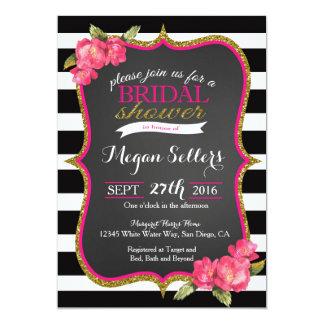 Invitación nupcial blanca negra rosada de la ducha