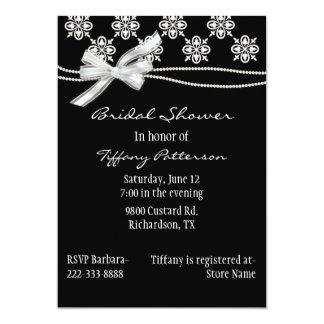 Invitación nupcial blanco y negro formal de la