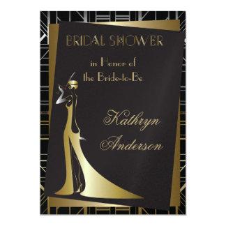 Invitación nupcial clásica de la ducha de Gatsby