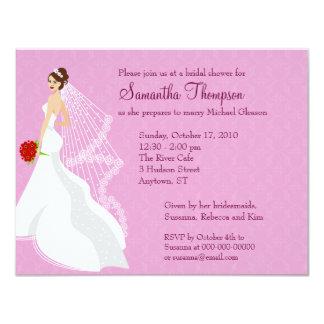 Invitación nupcial color de rosa coqueta de la