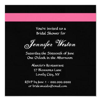 Invitación nupcial color de rosa ROSADA y NEGRA de