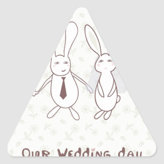 Invitación nupcial de la ducha con dos conejos lin pegatina de triangulo personalizadas