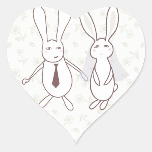 Invitación nupcial de la ducha con dos conejos lin pegatina