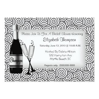 Invitación nupcial de la ducha de Champán Invitación 12,7 X 17,8 Cm