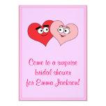 Invitación nupcial de la ducha de dos corazones invitación 12,7 x 17,8 cm