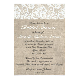 Invitación nupcial de la ducha de la arpillera del invitación 12,7 x 17,8 cm