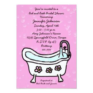 Invitación nupcial de la ducha de la cama y del