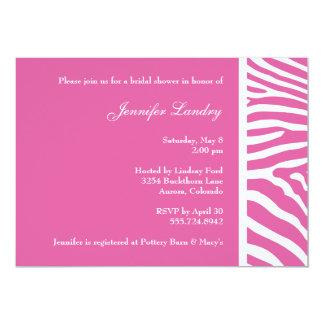 Invitación nupcial de la ducha de la cebra rosada