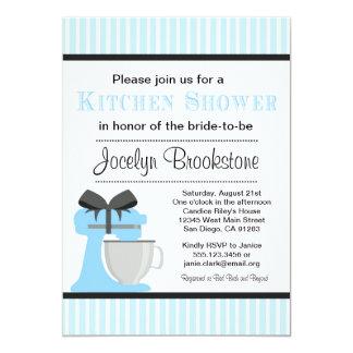Invitación nupcial de la ducha de la cocina azul