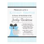 Invitación nupcial de la ducha de la cocina azul p