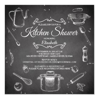 Invitación nupcial de la ducha de la cocina de la