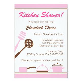 Invitación nupcial de la ducha de la cocina marrón