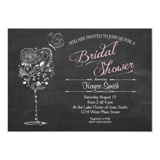 Invitación nupcial de la ducha de la copa de vino