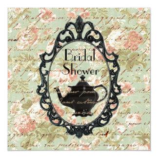 Invitación nupcial de la ducha de la fiesta del té invitación 13,3 cm x 13,3cm