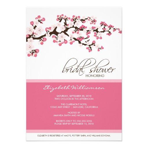 Invitación nupcial de la ducha de la flor de cerez