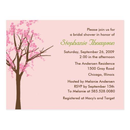 Invitación nupcial de la ducha de la flor de cerez postales