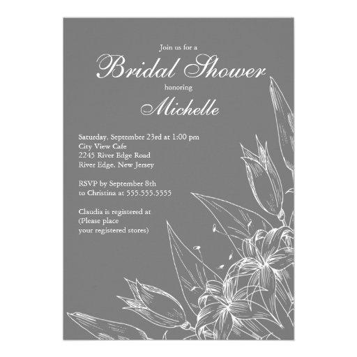 Invitación nupcial de la ducha de la flor gris ele