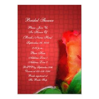 Invitación nupcial de la ducha de la flor roja del