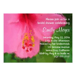 Invitación nupcial de la ducha de la flor rosada d
