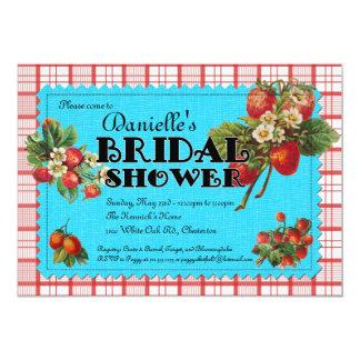 Invitación nupcial de la ducha de la fresa