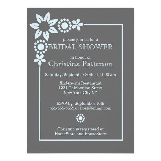 Invitación nupcial de la ducha de la frontera flor