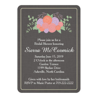 Invitación nupcial de la ducha de la guirnalda invitación 11,4 x 15,8 cm