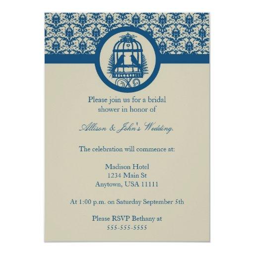Invitación nupcial de la ducha de la jaula azul