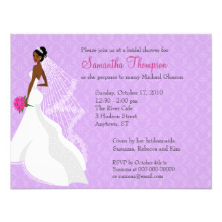Invitación nupcial de la ducha de la lila 2 coquet