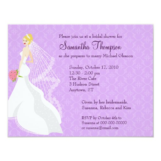 Invitación nupcial de la ducha de la lila coqueta