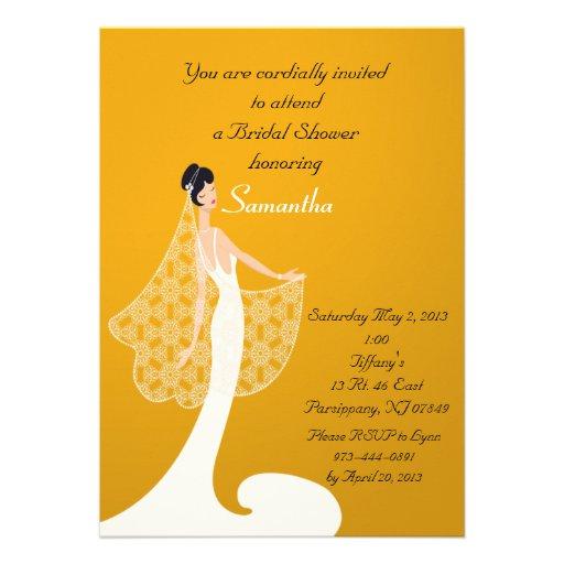 Invitación nupcial de la ducha de la novia anaranj