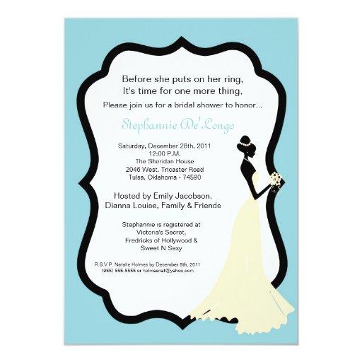 invitación nupcial de la ducha de la novia azul