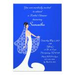 Invitación nupcial de la ducha de la novia azul y