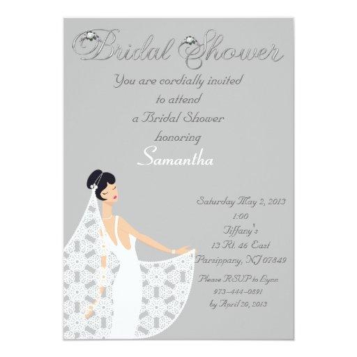 Invitación nupcial de la ducha de la novia gris