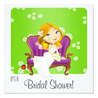 Invitación nupcial de la ducha de la novia linda