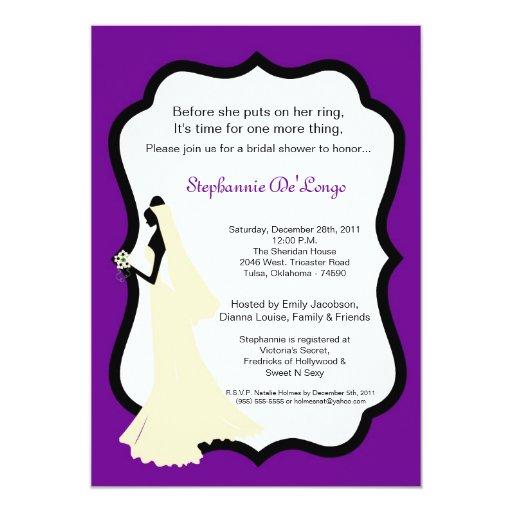 invitación nupcial de la ducha de la novia púrpura