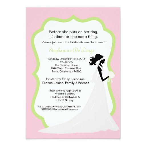 invitación nupcial de la ducha de la novia rosa
