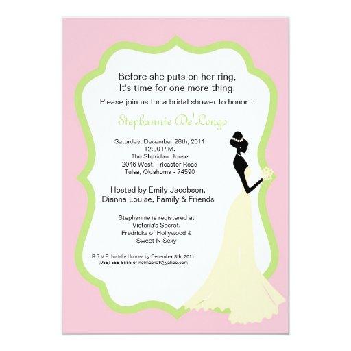 invitación nupcial de la ducha de la novia rosa invitación 12,7 x 17,8 cm