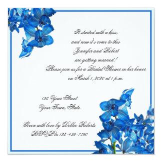 Invitación nupcial de la ducha de la orquídea azul invitación 13,3 cm x 13,3cm