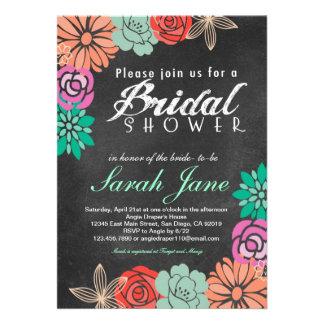 Invitación nupcial de la ducha de la pizarra flora