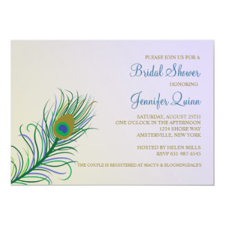 Invitación nupcial de la ducha de la pluma del