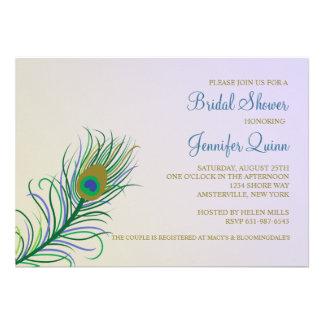 Invitación nupcial de la ducha de la pluma del pav