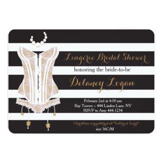 Invitación nupcial de la ducha de la ropa interior invitación 12,7 x 17,8 cm