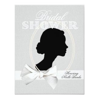 Invitación nupcial de la ducha de la silueta