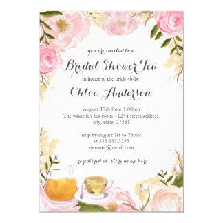 Invitación nupcial de la ducha de la taza de té